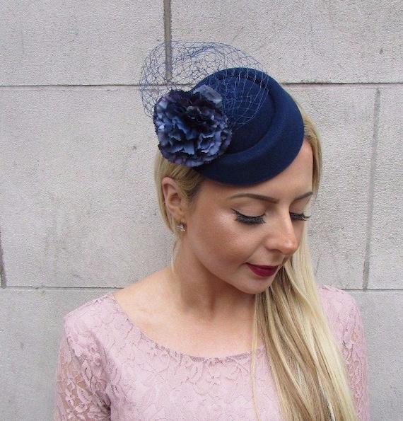Navy Blue Flower Pillbox Hat Fascinator Hair Clip Races  b61f2e1fdae