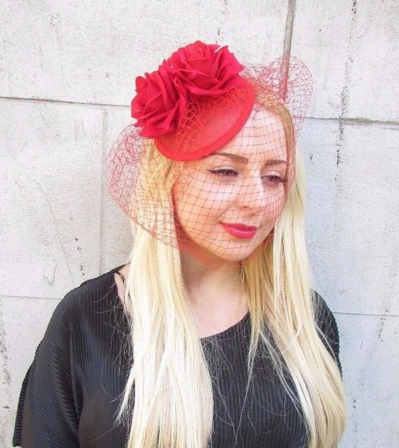 Red Rose Birdcage Veil Flower Fascinator Races Headpiece Hair  646fa9596f50