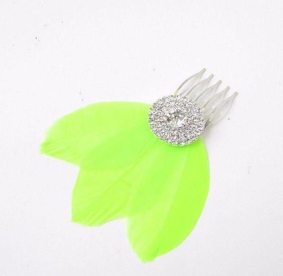 Lime Green Neon Feather Fascinator Hair Comb Silver Diamante 1920s Vtg Clip 2356