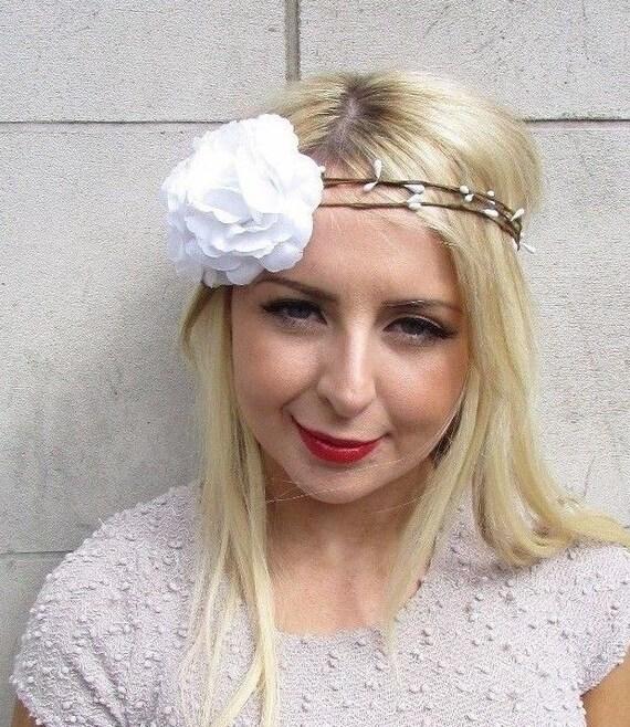 Large White Flower Garland Headband Hair Crown Headpiece Boho Etsy