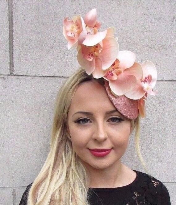 Light Peach Blush Pink Rose Gold Orchid Flower Fascinator Hat  7d5d58c13cc8
