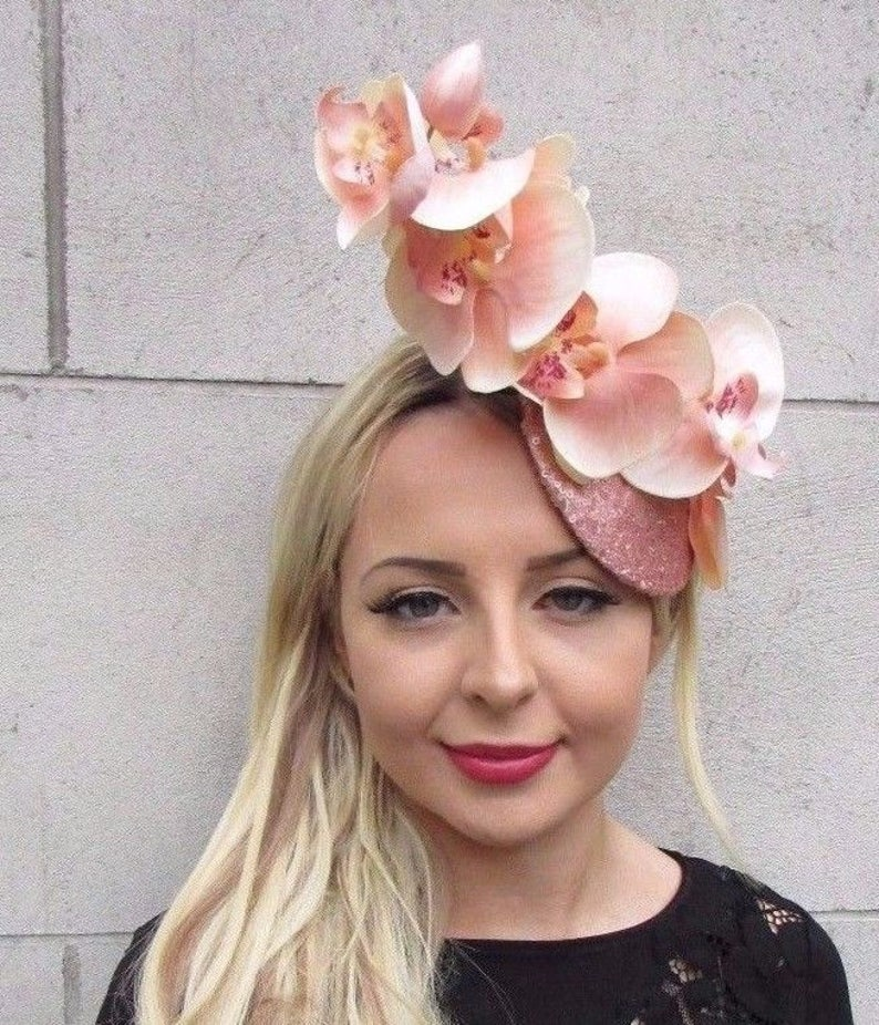 409f1f24d04f4 Light Peach Blush Pink Rose Gold Orchid Flower Fascinator Hat