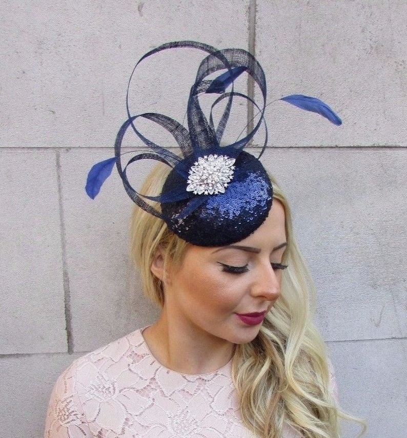 e0eb385ca938a Navy Blue Silver Feather Pillbox Hat Fascinator Races Hair