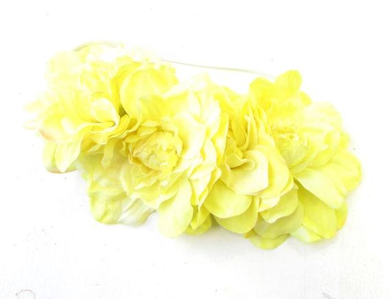 Large Yellow Dahlia Flower Headband Hair Crown Garland Elasticated Rose Big 993