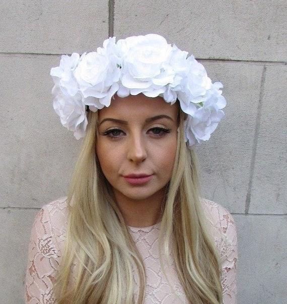 Large White Hydrangea Rose Flower Garland Headband Headpiece Etsy