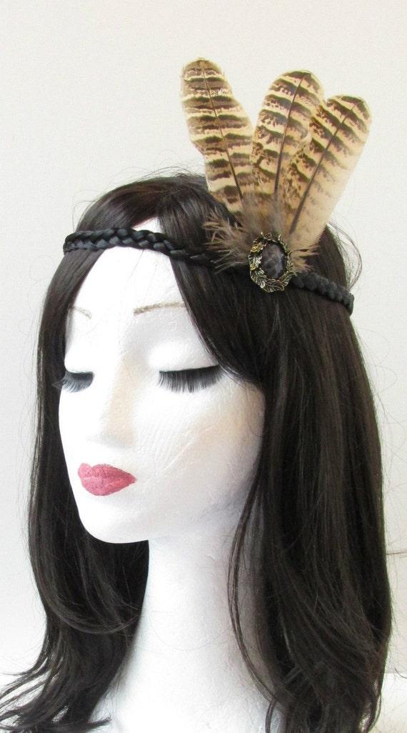 Brown Black Feather Headband Native American Red Indian Headdress War Bonnet T35