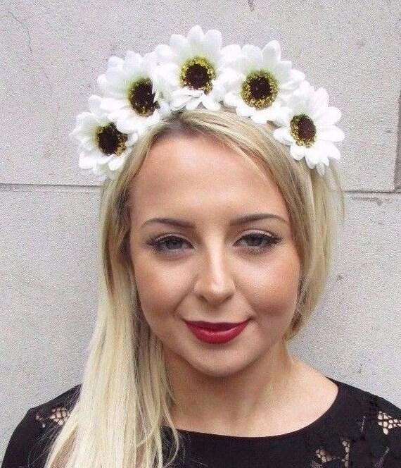 Cream white large daisy flower garland headband festival hair etsy image 0 mightylinksfo