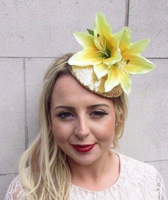 Large Gold Yellow Lily Fascinator Headpiece Sequin Races  6c3c067345e