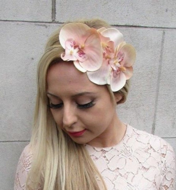 Fascinator Large Teal Orchid Flower Black Headband Races Party. Wedding