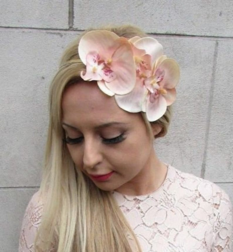 55a89f02784df Peach Gold Orchid Flower Fascinator Headband Races Headpiece