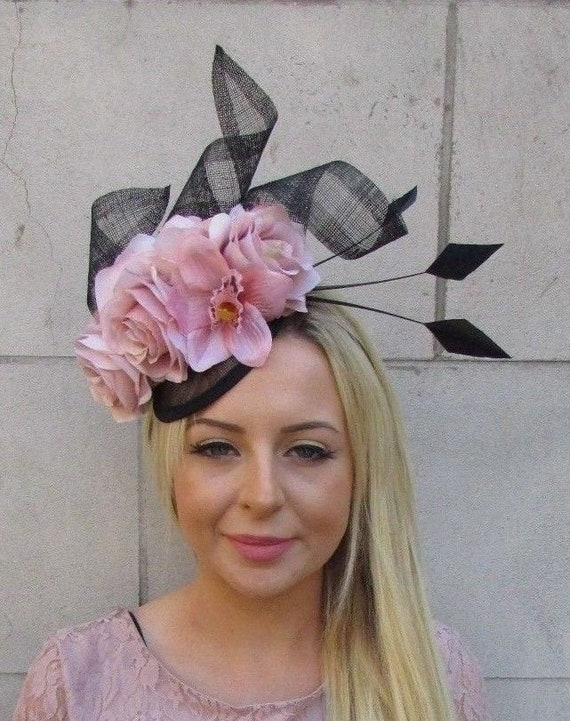 Bottle Dark Green Blush Light Pink Floral Flower Feather Hat Fascinator 7178