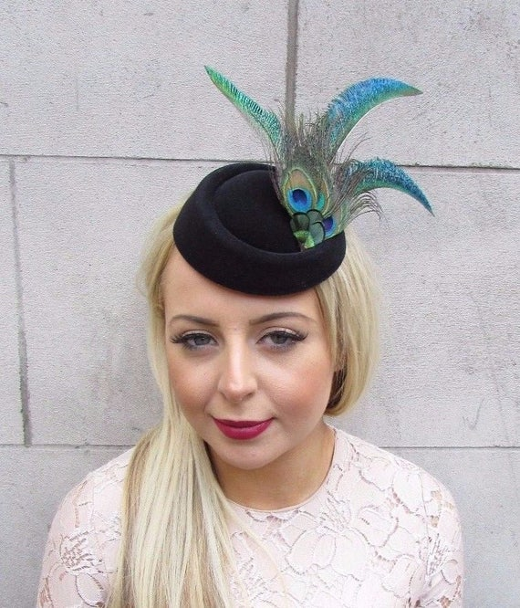 Green Black Peacock Feather Pillbox Hat Hair Fascinator Races Clip Vintage  4181 b5d319008ba6