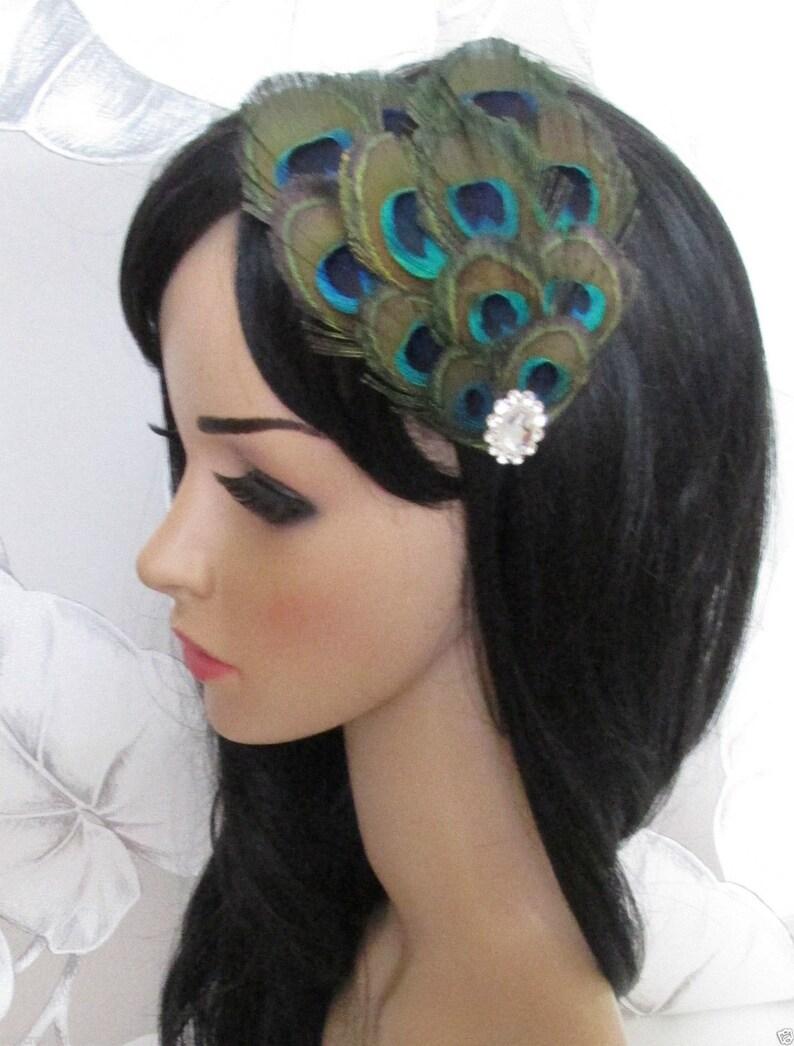 White Diamante Feather Head Piece Great Gatsby Bridal 1920s Vintage Headband h85