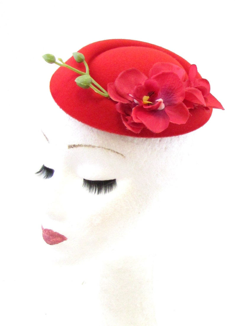 Red Orchid Flower Pillbox Hat Fascinator Races Rockabilly 1950s Vtg Hair 40s 818