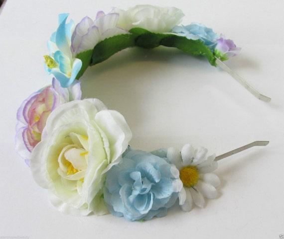 Lilac Blue White Rose Orchid Flower Hair Crown Garland Headband Daisy Vtg R89