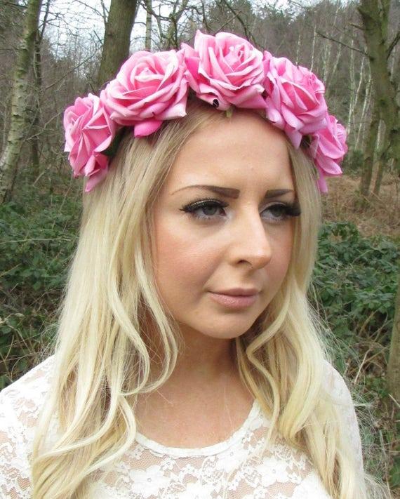Large Light Pink Rose Flower Garland Headband Hair Crown Band  84e21f03bfc