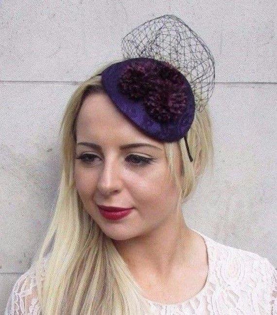 Dark Purple Black Flower Fascinator Hair Headband Wedding  ec74748c91f