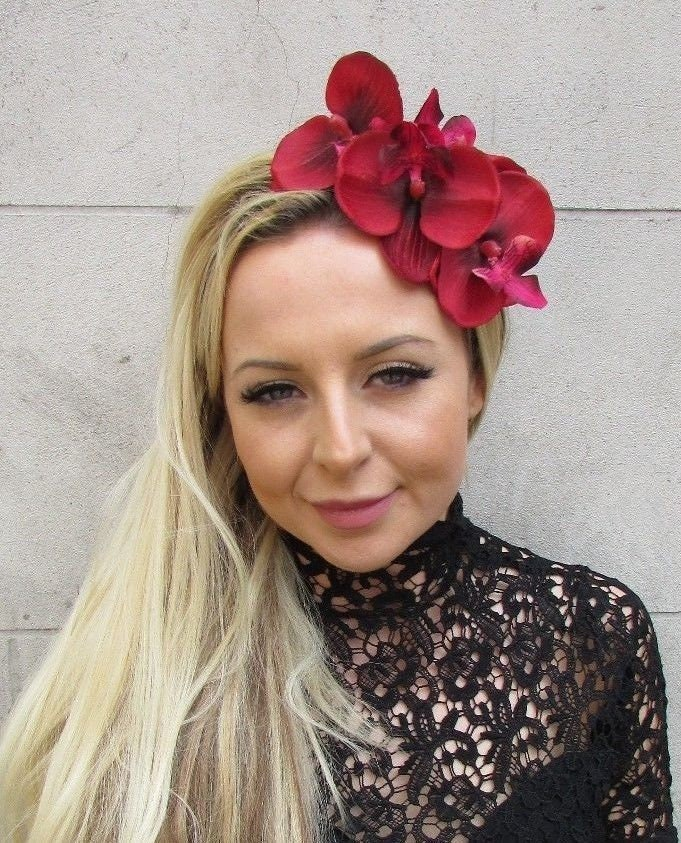Fascinator Headpiece: Ruby Red Silver Orchid Flower Fascinator Headpiece