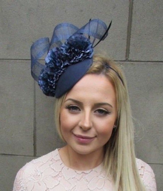 0cbc69c68dc Navy Blue Flower Feather Pillbox Hat Hair Fascinator Races