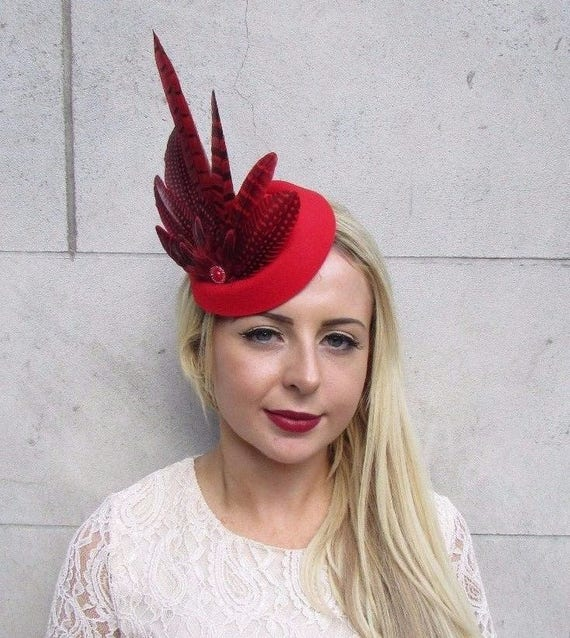 877ac2f8404 Red Pheasant Feather Pillbox Hat Hair Fascinator Races Wedding