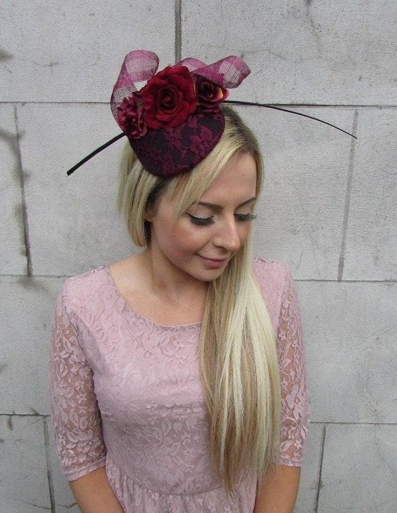 Black Burgundy Wine Red Rose Flower Feather Pillbox Hat Hair Fascinator 5636