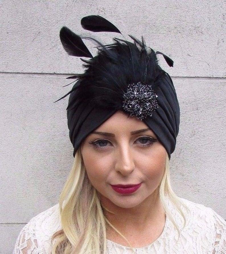 Black Diamante Feather Turban Headpiece Fascinator 1920s  867258377c8