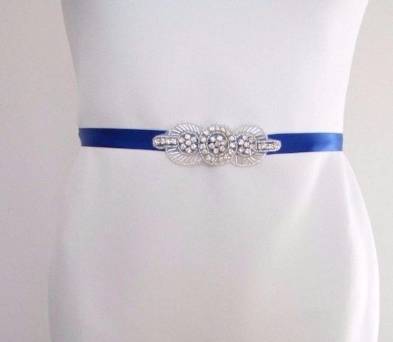 Royal Blue Silver Diamante Dress Belt 1920s Flapper Prom Great Gatsby Vtg 2502