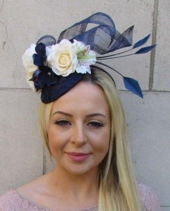 Navy Blue Rose Flower Feather Pillbox Hat Hair Fascinator Races Wedding 7189