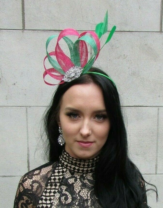 Hot Cerise Pink Emerald Green Silver Fascinator Feather Sinamay Hair Races 7457