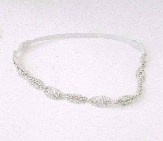 Thin Silver Diamante Bridal Headband Beaded Headpiece Hair Band Accessory 3873