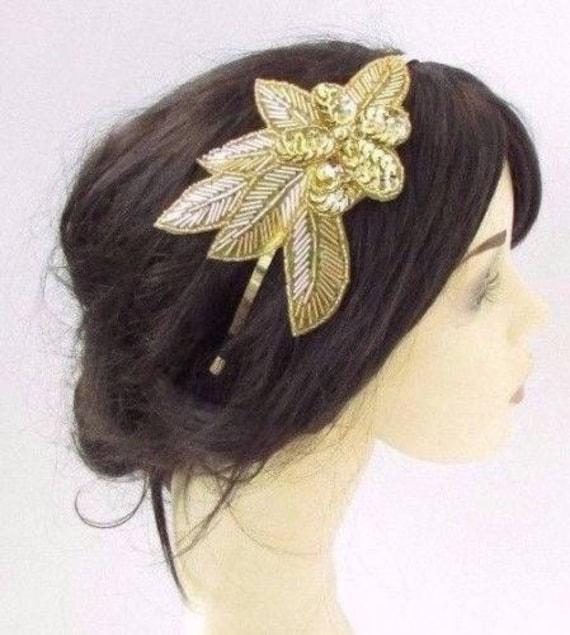 Or paillette Rose casque des années 1920 bandeau bibi courses grand Gatsby Vtg 4266