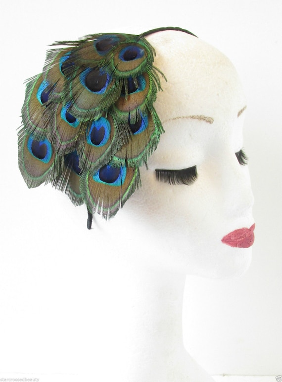 Real Peacock Feather Fascinator Headband Headpiece Vintage  c19a4d4baa2
