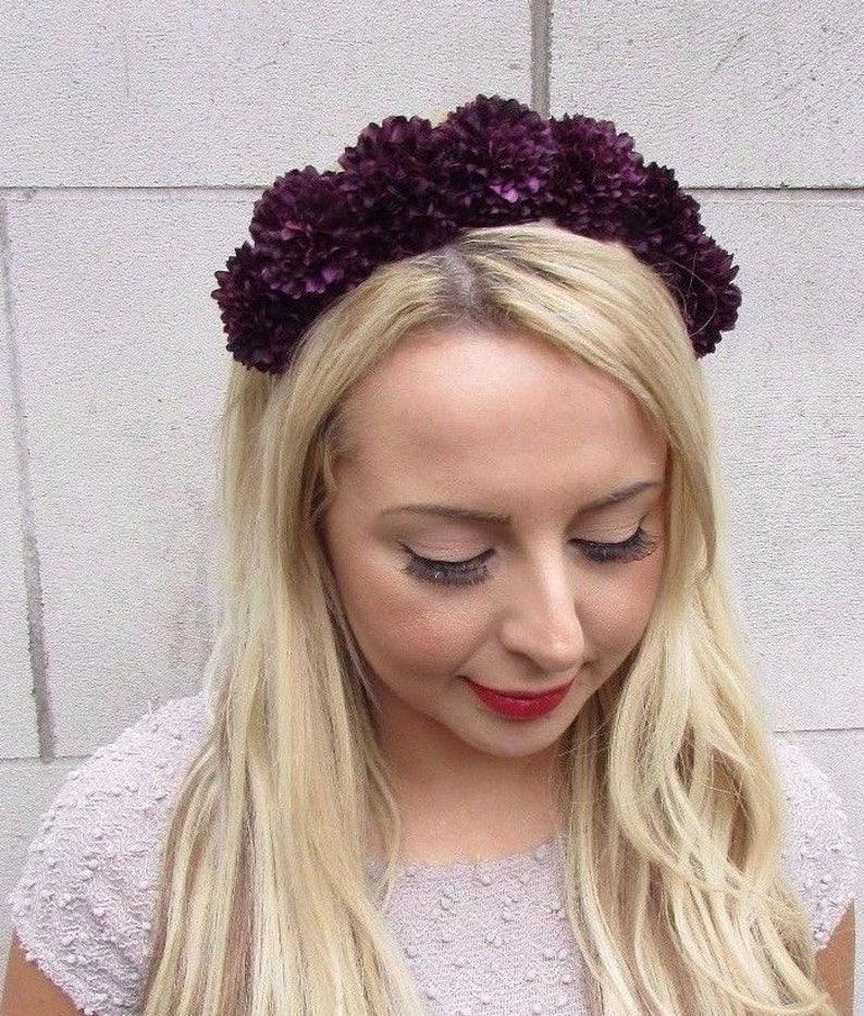 Dark Purple Black Rose Flower Headband Hair Crown Floral Boho Festival Vtg 4100