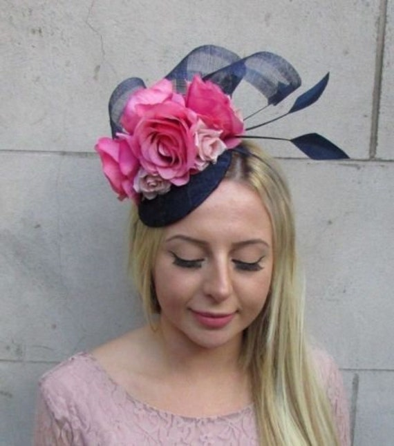 156cb368 Navy Hot Blush Light Pink Flower Feather Hat Fascinator Races | Etsy