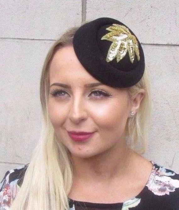 Black Gold Sequin Pillbox Hat Hair Fascinator Races Statement  7098cda2648