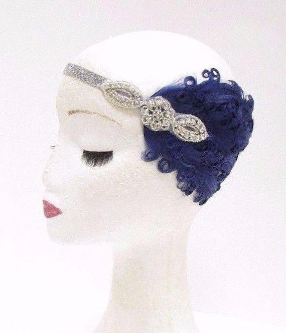 Dark Green /& Gold Feather Headband Vintage 1920s Headpiece Flapper Headdress V11