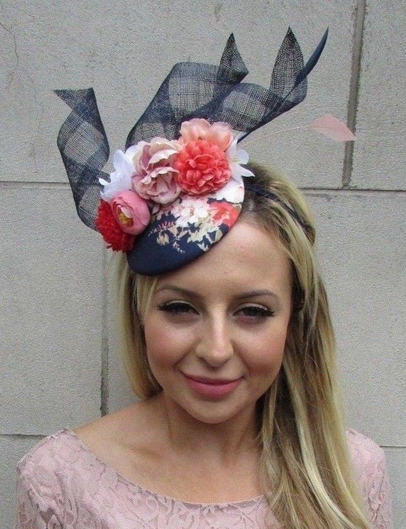 f9988ca0744e0 Navy Blue Coral White Blush Pink Red Flower Feather Hat   Etsy