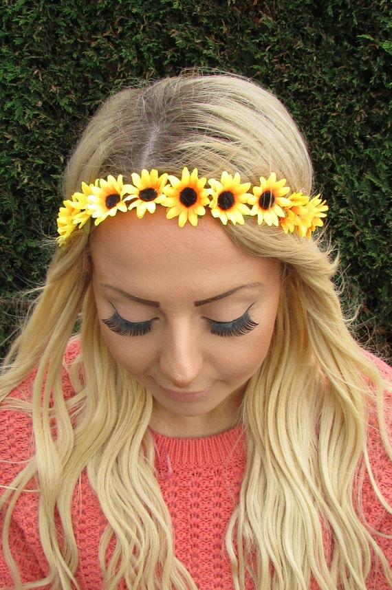Yellow Orange Vintage Inspired Flower Headband