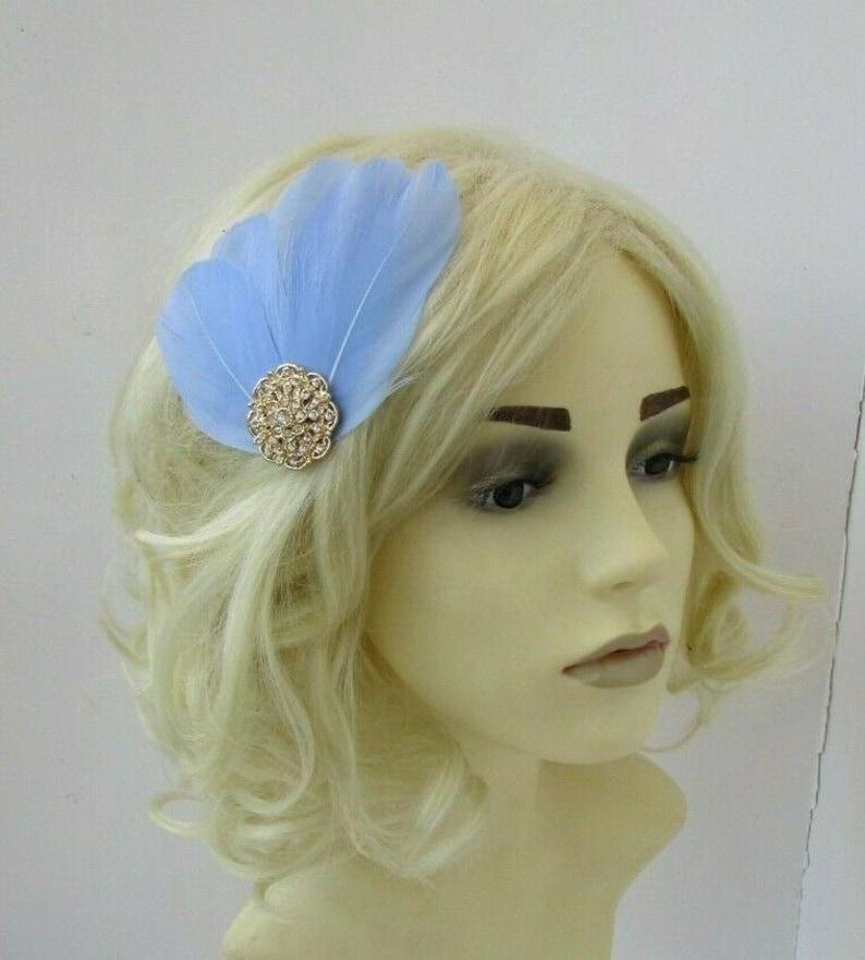 Light Cornflower Blue Fascinator /& Gold Feather Hair Clip Periwinkle Blue 0781
