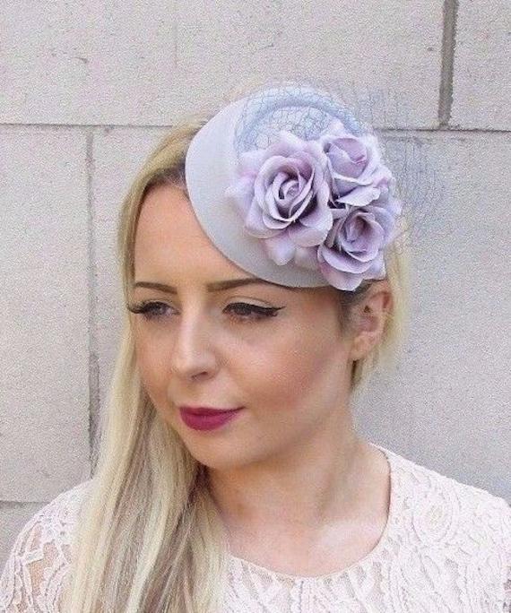 Grey Lilac Rose Flower Pillbox Hat Fascinator Races Wedding Hair Clip Hair 3740