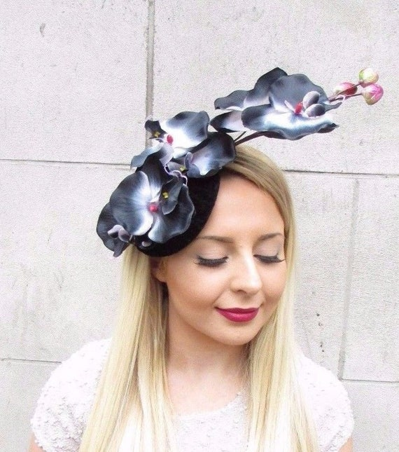 Black Flower Fascinator Hat: Black White Pink Velvet Orchid Flower Fascinator Hat Races