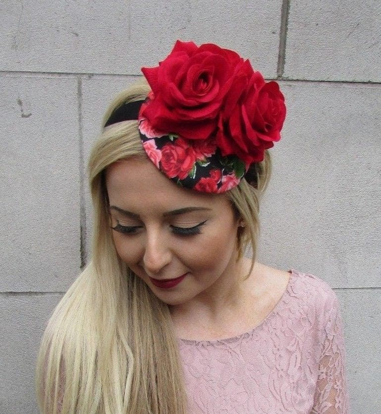 Black Flower Fascinator Hat: Red Black Rose Flower Floral Fascinator Hat Headband Races