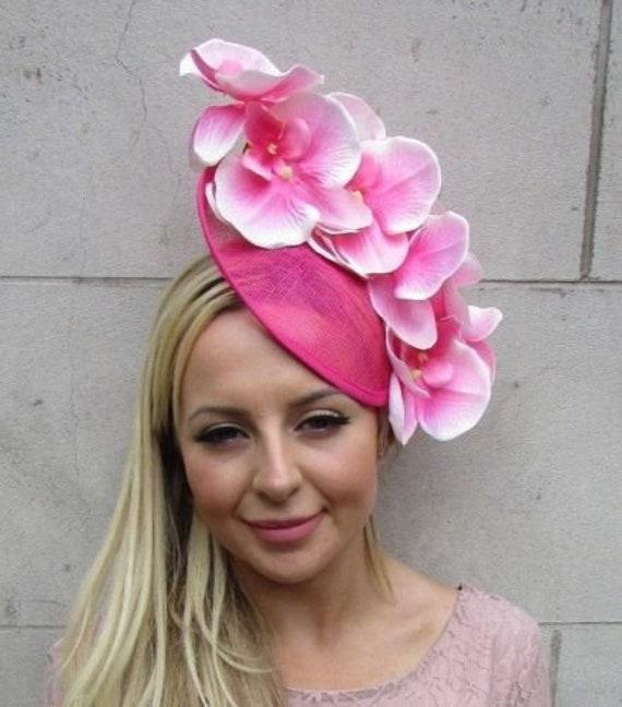 Hot Light Pink Orchid Flower Saucer Disc Hat Fascinator  0b5c676c73c