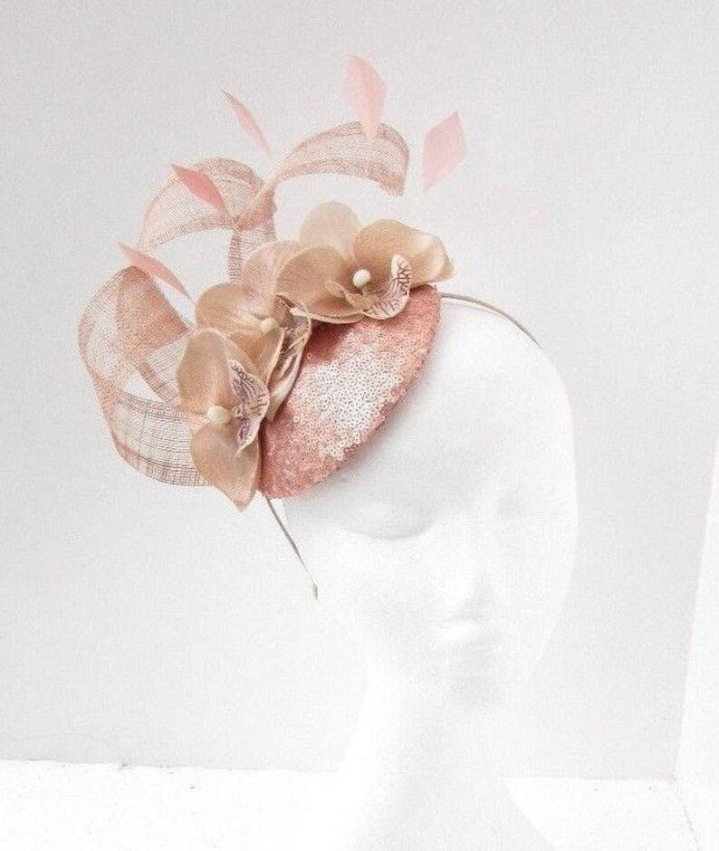 Nude Rose Gold Beige Pink Sequin Flower Feather Fascinator Hat  4358b8e4091