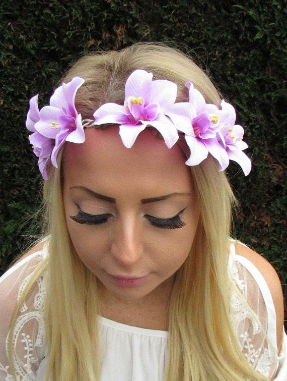 Peach Nude Orchid Flower Garland Headband Hair Crown Boho Hawaiian Beach 3505