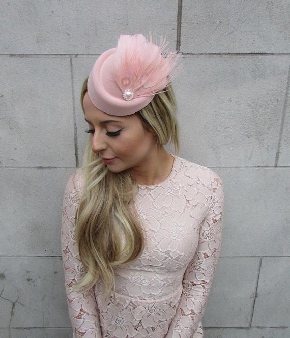 Light Baby Pink Rose Flower Pillbox Hat Fascinator Races Vintage Headpiece 2389