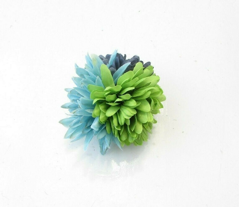 Triple Green Turquoise Navy Blue Ruffled Flower Hair Clip Fascinator Floral 1940s Style 0608