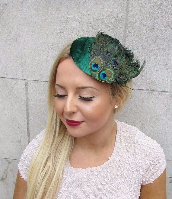 Emerald Green Peacock Feather Fascinator Hair Clip 1940s Hat Races Cocktail 2581