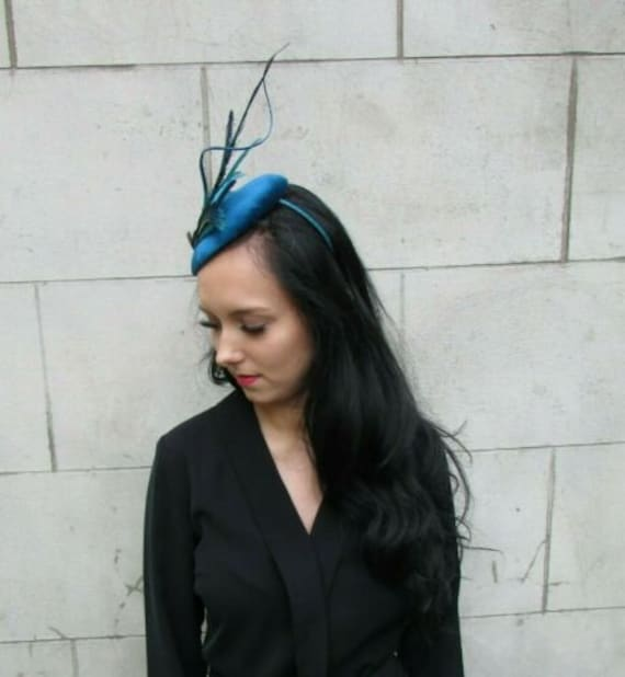 Teal Turquoise Navy Blue Green Pheasant Peacock Feather Hat Fascinator 7410