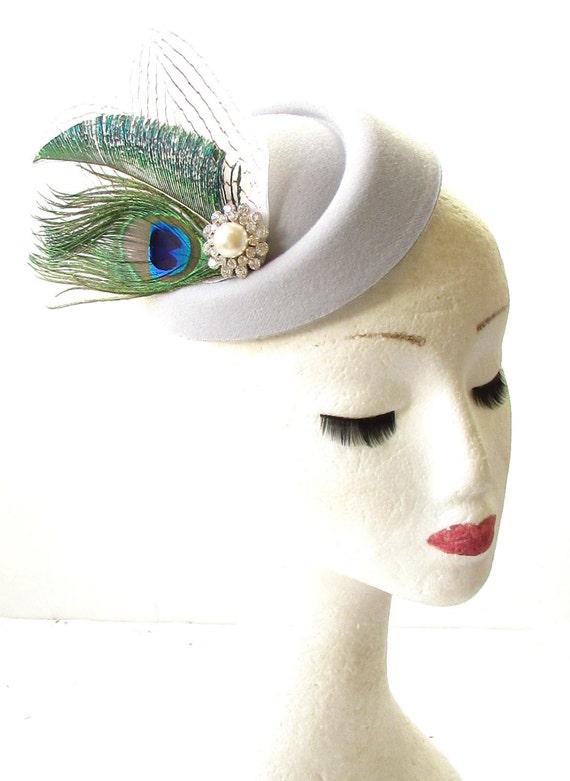 Grey Peacock Feather Pillbox Hat Fascinator Hair Clip Races Vintage Wedding 3867